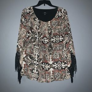 Cute Top with Fringe Sleeves